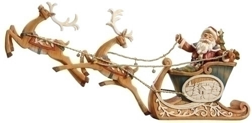 """20"""" Woodland Inspirations Santa Claus On Sleigh with Reindeer Christmas Figure - 15634190"""