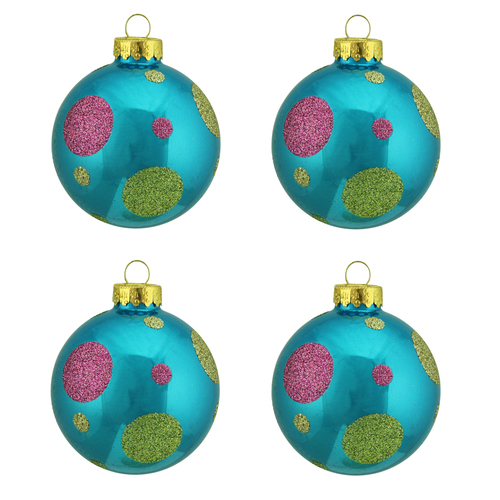 """4ct Turquoise Blue with Glitter Polka Dot Design Glass Ball Christmas Ornaments 2.5"""" (65mm) - 31729319"""