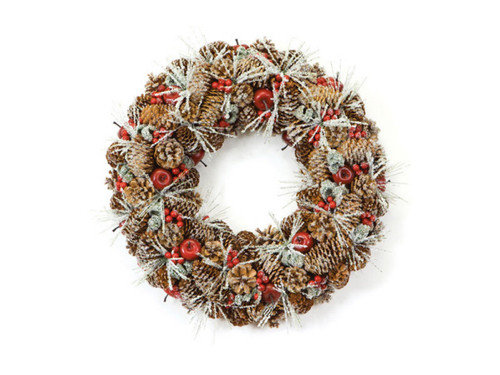 """18"""" Eco Country Iced Pine Cone Artificial Apple Berry Christmas Wreath - 17103664"""