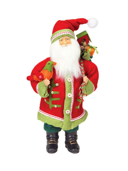 """20"""" Festive Red and Green Santa Claus with Bird Table Top Christmas Figure - 16190288"""