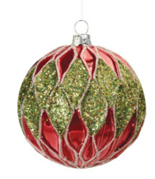 "Christmas Brites Red and Green Jeweled Waves Glass Ball Ornament 3.5"" (90mm) - 31370514"