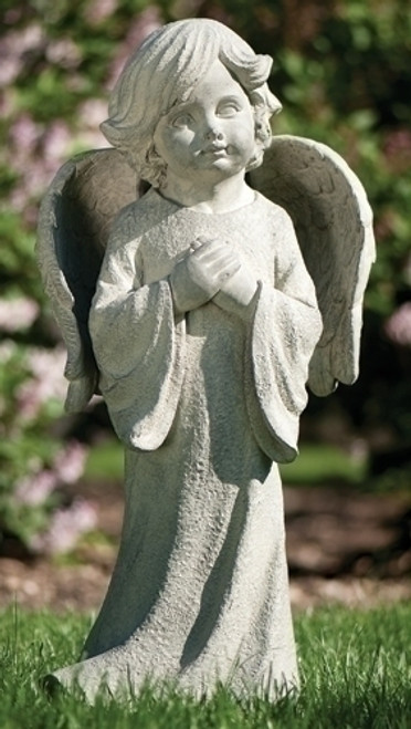"26"" Graceful Inspirational Praying Child with Angel Wings Outdoor Garden Statue - 30929855"