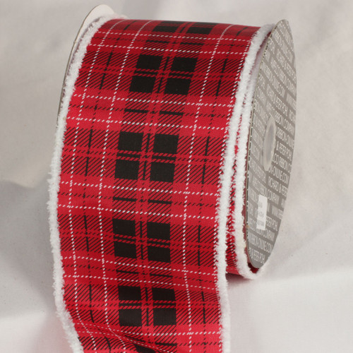 "Red and Black Santa Plaid Wired Craft Ribbon 4"" x 20 Yards - 31532389"