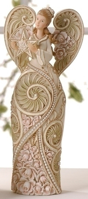 """9"""" Embellished Rose Blossom Victorian Angel With Star Figure - 7052041"""
