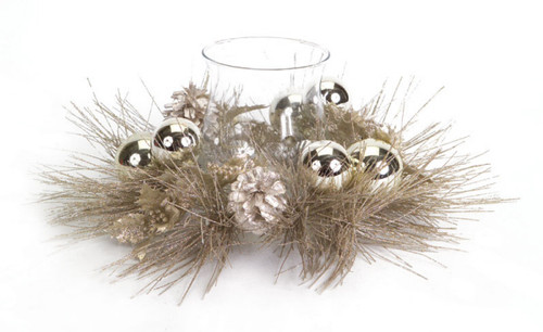 """14"""" Champagne Gold Ball Ornament, Pine, Holly and Pine Cone Christmas Candle Holder - 31304232"""