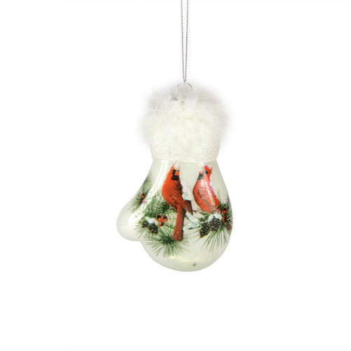 Nature's Story Teller Mitten Shaped Christmas Ornament with Cardinals - 9729130