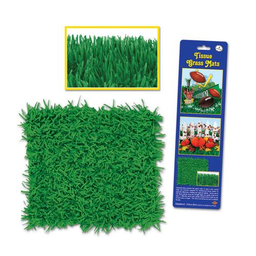 """Club Pack of 24 Novelty Green Tissue Grass Mats 30"""" - 31558773"""