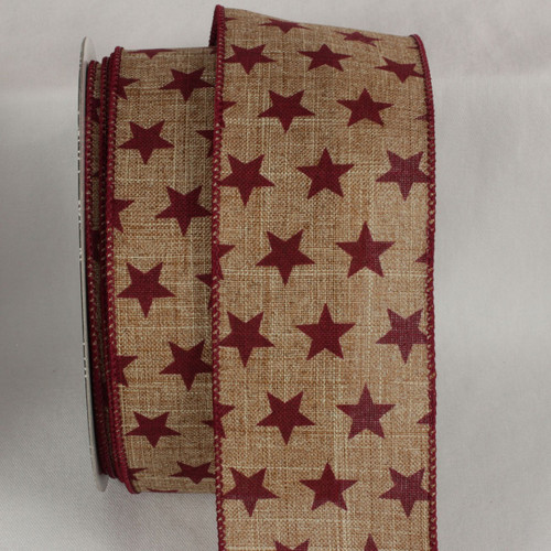 "Cranberry Red American Stars on Brown Wired Craft Ribbon 2.5"" x 20 yards - 31532311"