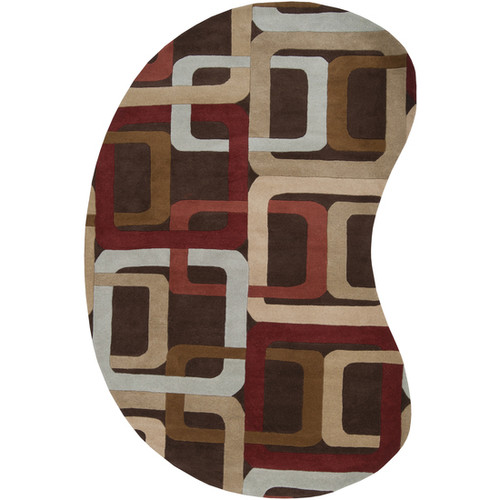8' x 10' Soporific Squircle Modern Sienna Red Brown Wool Kidney Area Throw Rug - 28460517