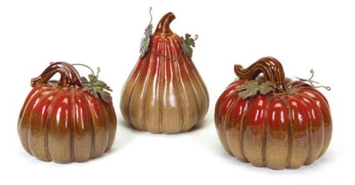 Set of 3 Autumn Fall Harvest Thanksgiving Pumpkin & Gourd Table Top Decorations - 31067577