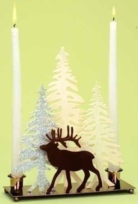"""10"""" Home for the Holidays Deer with Winter Scene Christmas Candle Holder - 11204162"""