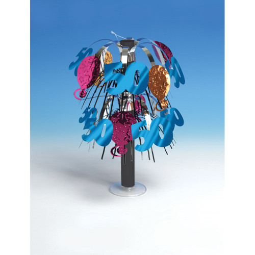 """Club Pack of 12 Multi-Colored Metallic """"50"""" 50th Birthday Mini Foil Party Centerpieces 10.5"""" - 31381889"""