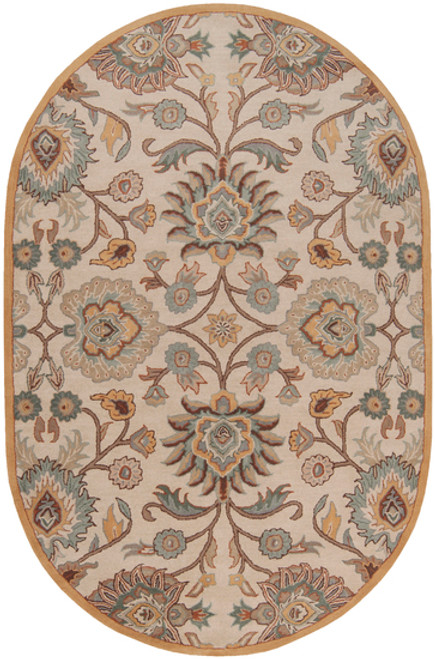 6' x 9' Octavia Lavender Gray and Blue Hand Tufted Wool Oval Area Throw Rug - 28457545