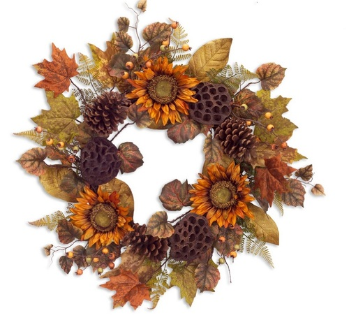 "24"" Autumn Harvest Orange and Brown Natural Sunflower Fall Foliage Artificial Thanksgiving Wreath - 31760136"
