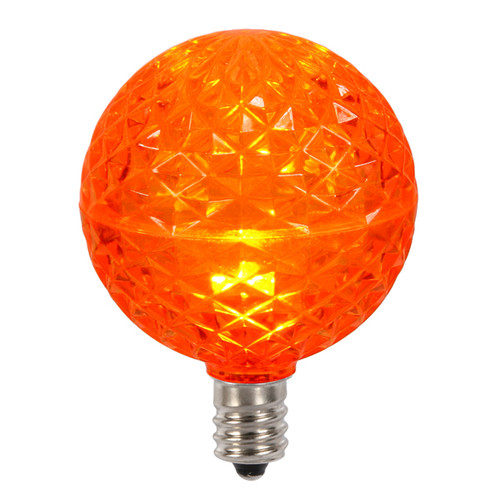 Club Pack of 25 LED G50 Orange Replacement Christmas Light Bulbs - E12 Base - 30861539