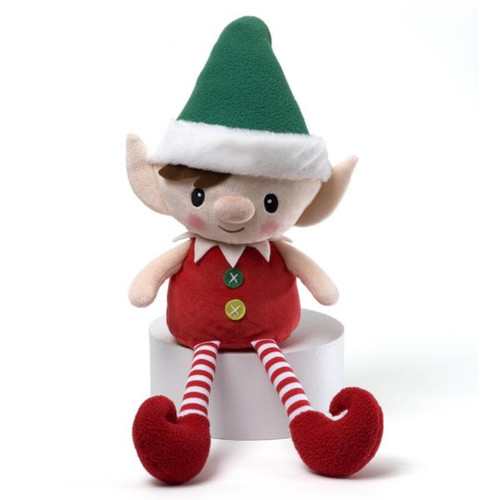 """16"""" Red, Green and White Striped Plush Personalized Magic Message Christmas Elf - 30852378"""