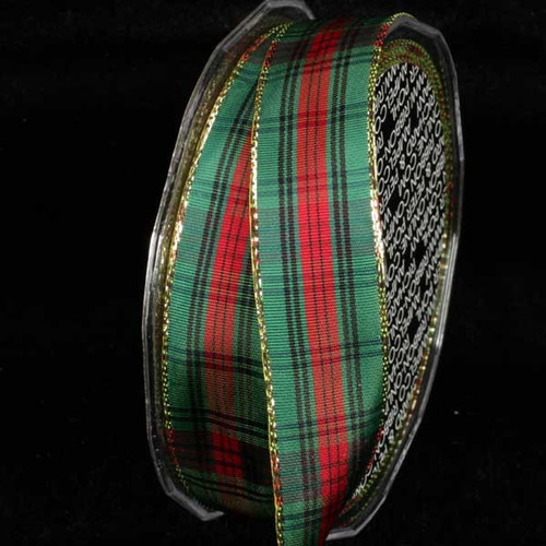 """Green, Black, and Red French Plaid Pattern Gold Wired Craft Ribbon 1"""" x 27 Yards - 31392108"""