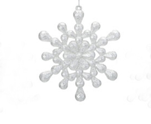 Snowfall Valley Silver Glitter 12-Point Snowflake Christmas Ornament - 9729457