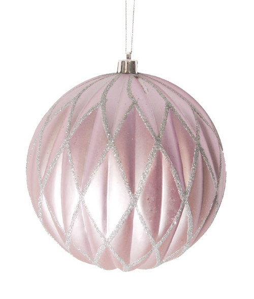 "Lavender Blush Glittered Lattice Shatterproof Christmas Ball Ornament 6"" (150mm) - 23117925"