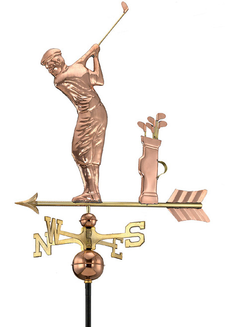 "30"" Luxury Polished Copper Sporting Golfer with Clubs Weathervane - 9449674"