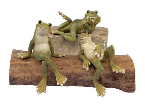 """Set of 3 Water's Edge Whimsical Lounging Grinning Garden Shelf Frogs 8.5"""" - 30925500"""