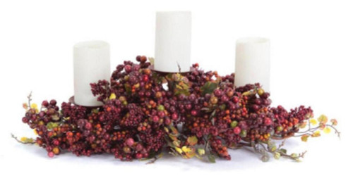 """21"""" Autumn Harvest Red and Orange Berries and Grape Leaf Fall Pillar Candle Holder Centerpiece - 31106016"""