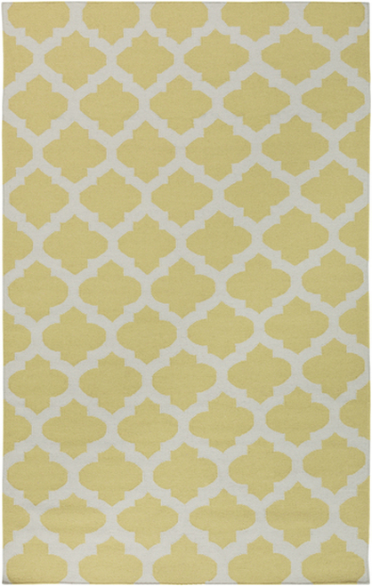 8' x 11' Gated Passage Yellow and Light Gray Hand Woven Wool Reversible Area Rug - 28460381
