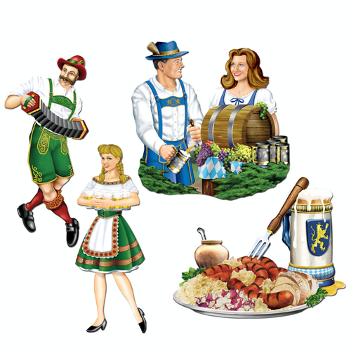 "Club Pack of 48 Multi-Colored German Oktoberfest Cutout Party Decorations 16.25"" - 31558753"