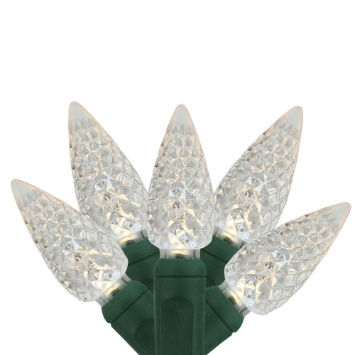 """Set of 35 Warm White LED C6 Faceted Commercial Grade Christmas Lights 6"""" Spacing - Green Wire - 31576099"""