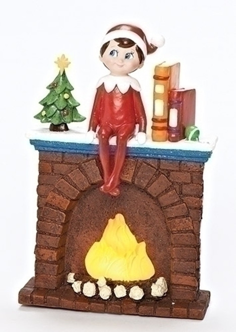 """6.75"""" LED Lighted Elf on Fireplace Battery Operated Table Top Christmas Decoration - 31753463"""