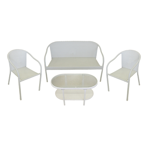 4-Piece White Resin Wicker Patio Furniture Set - Loveseat, 2 Chairs & Glass Top Table - 31344979