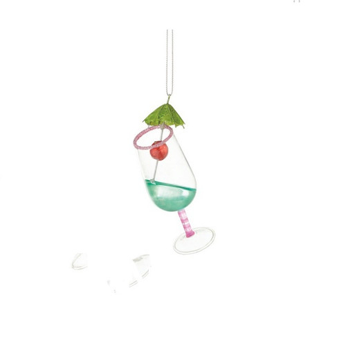"Happy Hour Pink Turquoise Tropical Hurricane Colada Cocktail Christmas Ornament 4"" - 31422218"