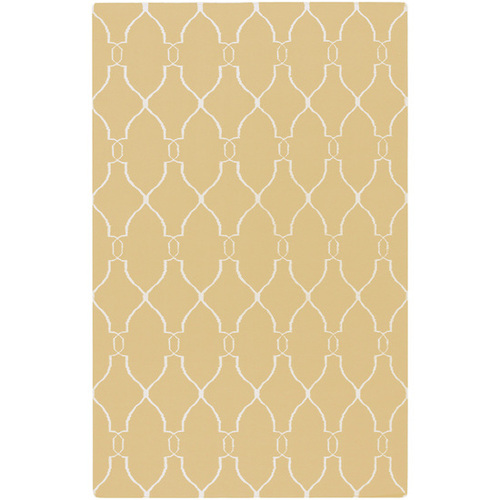 8' x 11' Evening Primrose Gold Yellow and Oatmeal Hand Woven Wool Area Throw Rug - 28461714