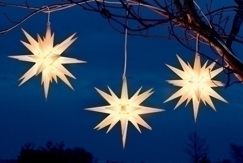 "14"" White Moravian Star Hanging Christmas Light - 7037966"