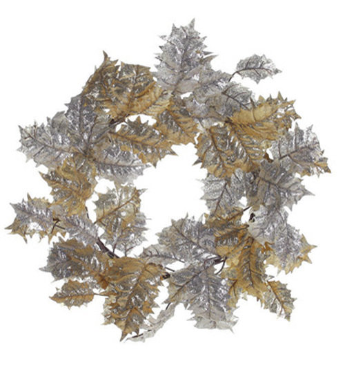 "24"" Gold and Champagne Glitter Drenched Holly Leaf Artificial Christmas Wreath - Unlit - 31105148"