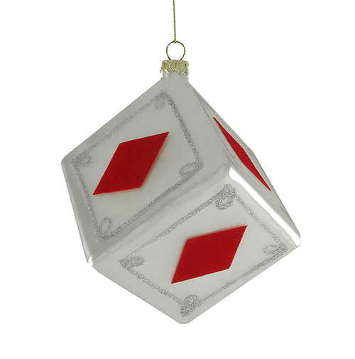 "3"" Diamonds Dice Casino Gambling Glass Christmas Ornament - 6669477"
