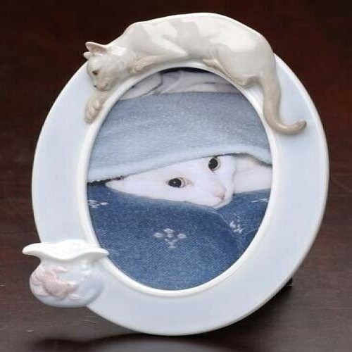 "Club Pack of 12 Porcelain Siamese Cat and Fish 4"" x 6"" Photo Frames - 6390387"