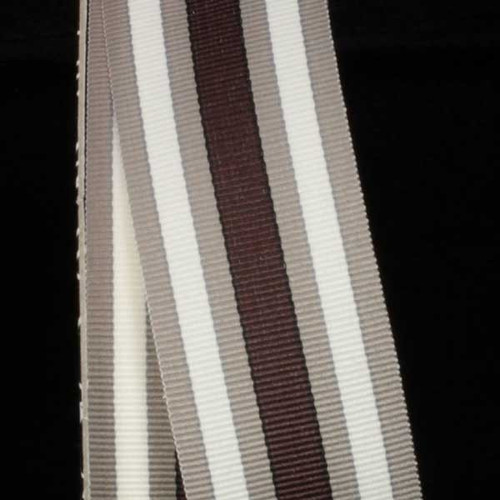 """Grey, White and Brown Striped Woven Grosgrain Craft Ribbon 1 3/8"""" x 55 Yards - 31385210"""