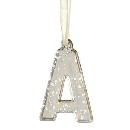 "4"" Antique-Style Speckled Glass Monogram Letter ""A"" Christmas Ornament - 31319822"