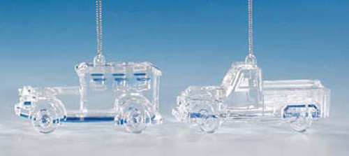 """Club Pack of 12 Icy Crystal Decorative Truck Ornaments 2"""" - 31002328"""