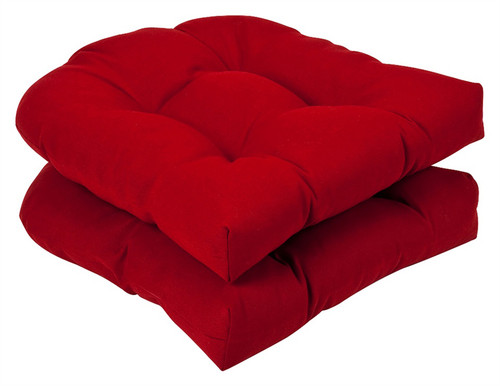 Pack of 2 Outdoor Patio Wicker Chair Seat Cushions - Venetian Red - 13988468