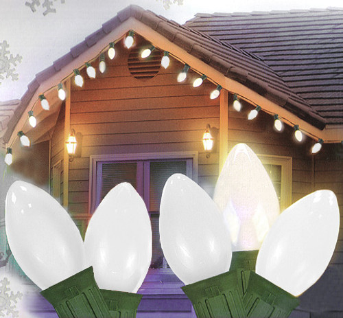 25 Ceramic Style Opaque White LED Retro Style C7 Christmas Lights - Green Wire - 23112945