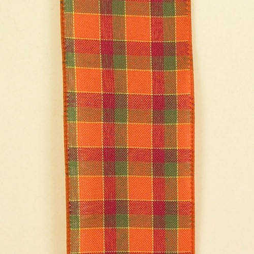 """Orange, Green, and Red Plaid Wired Craft Ribbon 2.5"""" x 50 Yards - 31385688"""