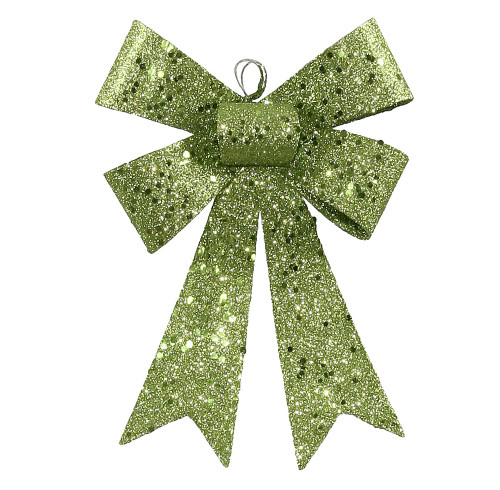 """7"""" Lime Green Sequin and Glitter Bow Christmas Ornament - 31302844"""