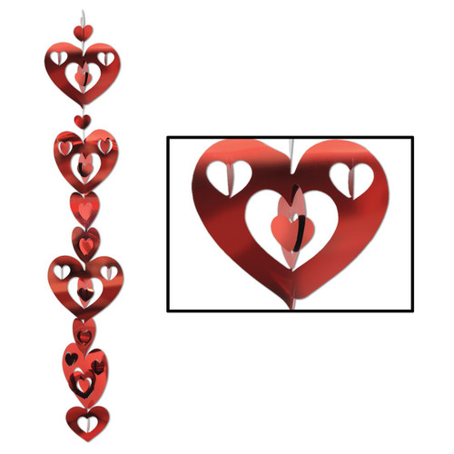 Club Pack of 24 Red Metallic 3-D Prismatic Heart Gleam 'N Garland Hanging Decorations - 31562742