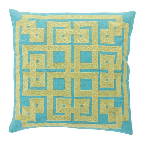 "18"" Aqua Blue and Lime Green Square Decorative Throw Pillow - Down Filler - 30890096"