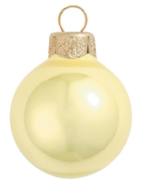"""4ct Pearl Soft Yellow Glass Ball Christmas Ornaments 4.75"""" (120mm) - 30940057"""