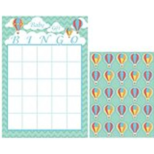 Club Pack of 60 Up, Up and Away Mint Green and Coral Baby Shower Bingo Game - 32039962