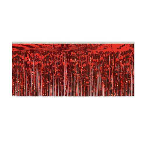 Pack of 6 Red Hanging Metallic Fringe Drape Decorations 10' - 31559808