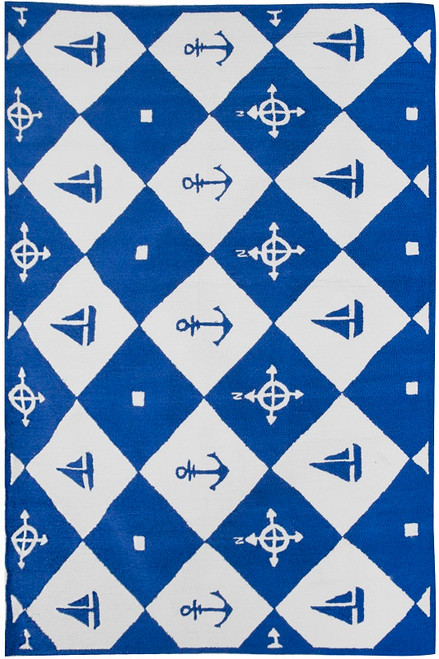 5' x 7' Anchors Away Hand Hooked Area Throw Rug - 31011545